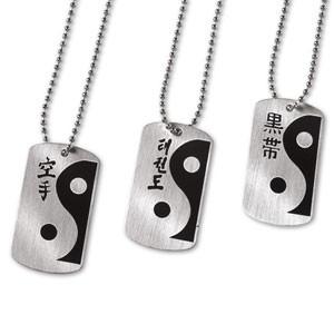 Martial Arts Yin Yang Kanji Dog Tag