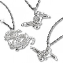 Martial Arts Kicking Nickel Plated Necklace
