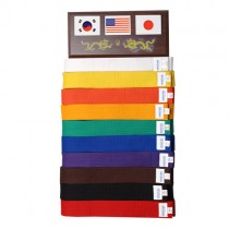 Ten Level Martial Arts Belt Display with Flags
